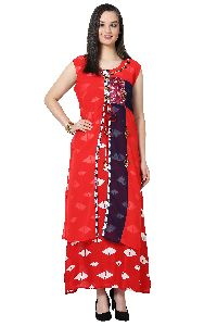 Button Work Designer Red Kurti