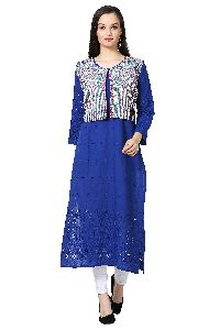 Chikankari Blue Cotton Kurti with Koti