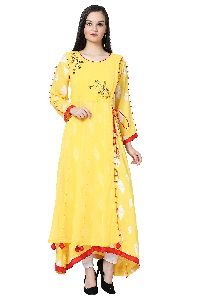 Designer Georgette Long Yellow Kurti
