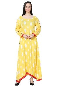Designer Rayon Long Yellow Kurti