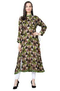 Angrakha Style Printed A-Line Rayon Green Kurti