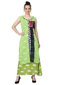 Button Work Designer Green Kurti