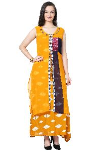 Button Work Designer Orange Kurti