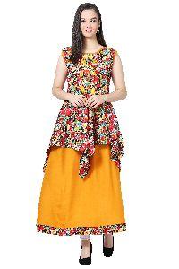 Floral Print Designer Orange Kurti