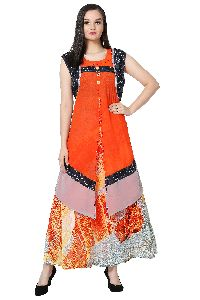 Printed Georgette Orange Kurti