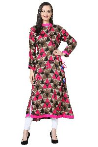 Angrakha Style Printed A-Line Rayon Pink Kurti