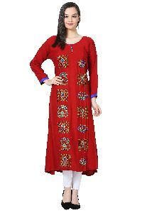 Embroidered A-line Rayon Red Kurti