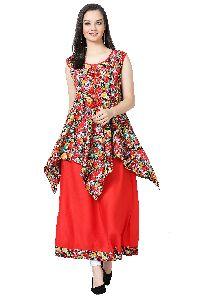 Floral Print Designer Red Kurti