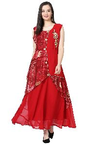 Patch Work Georgette Designer Red Kurti