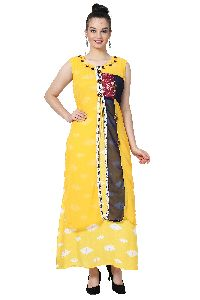 Button Work Designer Yellow Kurti
