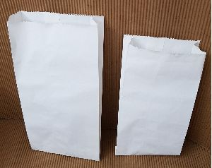 White Printed Grocery Bags Gusseted