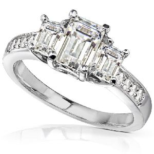 Sterling Silver Moissanite Diamond Ring