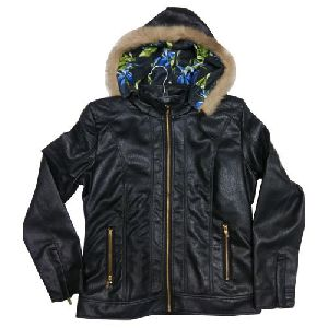 Ladies Hooded Leather Jacket