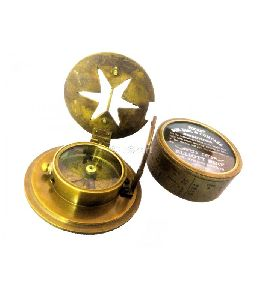 Brass Pocket Drum Sundial Magnetic Compass