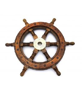 Ship Wheel In Wood
