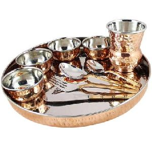 Copper Steel Bhojan Thali Set