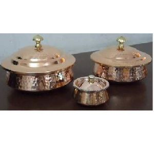 Copper Steel Handi Lagan Hammered with Lid
