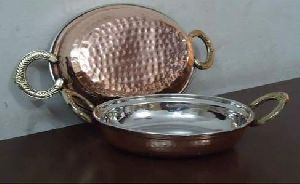 COPPER STEEL OVAL PORTION DISH WITH BRASS HANDLE