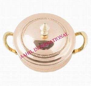 Copper Steel Serving Handi with Brass Handle