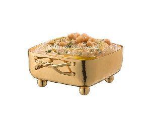 Dip Bowl Square Hammered Gold Entangled Handle
