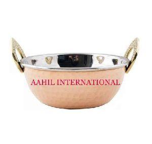 Kadai Copper Steel with Brass Handle