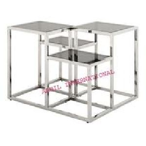Metal Side Table with Marble Top