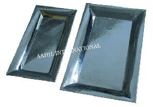 Rectangular Serving Tray Hammered Stainless Steel