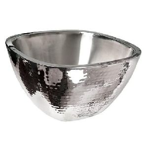 SQUARE BOWL DOUBLE WALL STAINLESS STEEL HAMMERED