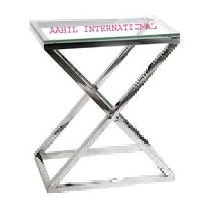 Stainless Steel Criss Cross Side Table High
