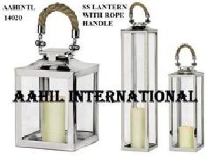 Stainless Steel Lantern with Rope Handle