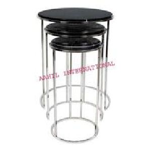 Stainless Steel Round Table with Marble Top