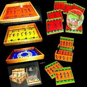 Warli Art Tray with Coasters