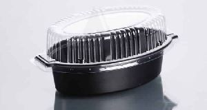500 gms Black Oval Tray with Clear Lid