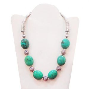 925 STERLING SILVER GREEN TURQUOISE BEADS ANTIQUE LOOK NECKLACE