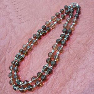 925 STERLING SILVER HAND CRAFTED SMOKY QUARTZ BEADED NECKLACE