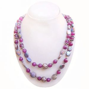 MULTI SHADE PEARL OR QUARTZ HANDMADE 925 STERLING SILVER BEADED NECKLACE