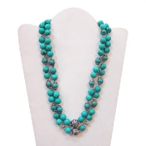 TURQUOISE BEADS HAND CRAFTED 925 STERLING SILVER WOMEN\'S NECKLACE