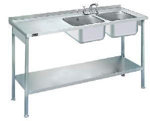 Stainless Steel Two Sink Unit