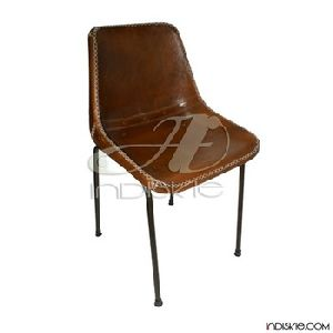 Vintage Stitched Leather Dining Chair Retro Leather School Chair Vintage Chairs
