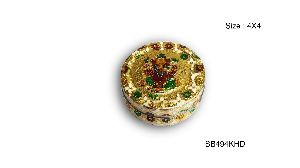 Gold Meenakari Steel Box 06