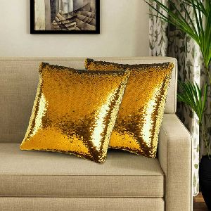 Gold & Silver Sequin Cushion Cover With Filler 01