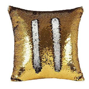 Gold & Silver Sequin Cushion Cover With Filler 02