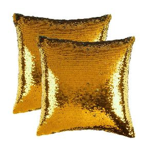 Gold & Silver Sequin Cushion Cover With Filler 03