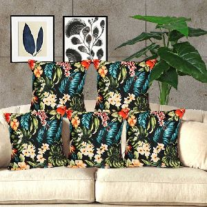 Polyester Floral Print Cushion Covers & Filler 02