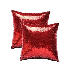 Red & Silver Sequin Cushion With Filler 01