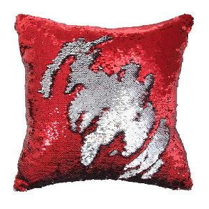 Red & Silver Sequin Cushion With Filler 02