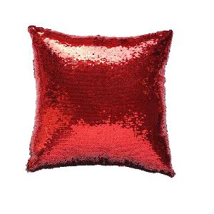 Red & Silver Sequin Cushion With Filler 03