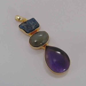 18K Gold Plated Amethyst, Apatite And Labradorite Gemstone Pendant