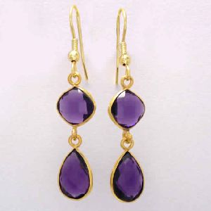 18k Gold Plated Amethyst Gemstone Teardrop Earrings