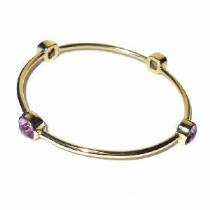 18K Gold Plated Amethyst Stackable Bangle